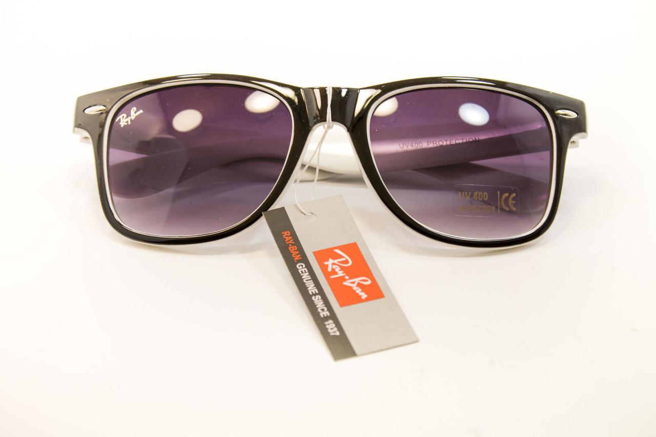 Очки wayfarer черный+белый 7728-6