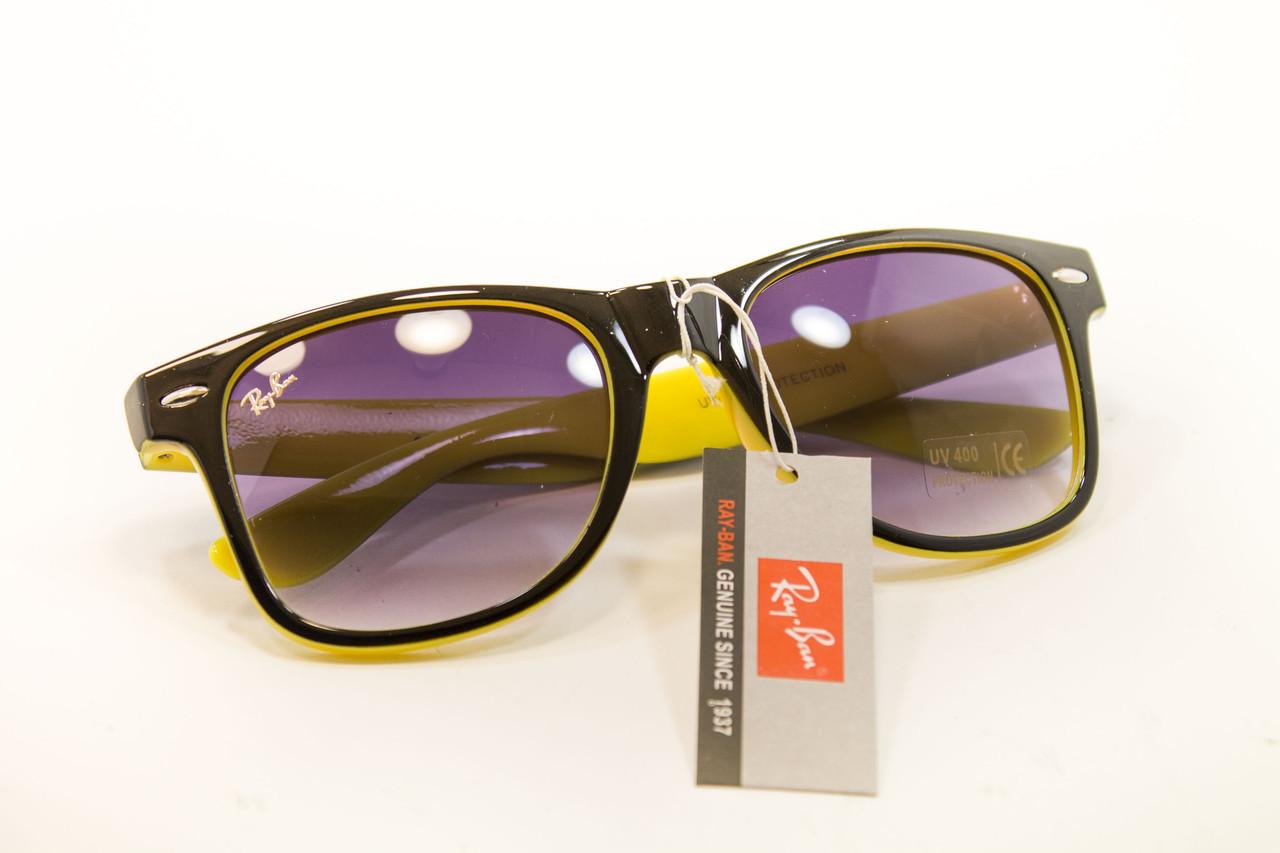 Очки wayfarer черный+желтый 7728-8
