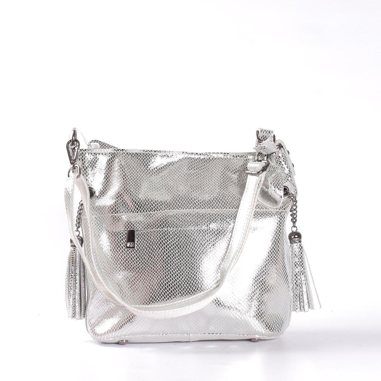 b514c97fbb68 Женская кожаная сумка с лазерным напылением серебро