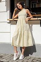 Легкое платье длинное свободное в мелкий горох под горло без рукав лимонного цвета