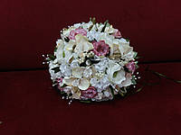 Свадебный букет-дублер из орхидей и пион молочный (айвори) с желтым и розовым