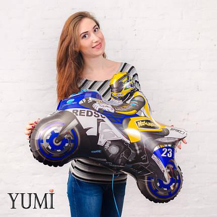 Фольгированный шар с гелием мотоциклист синий, фото 2