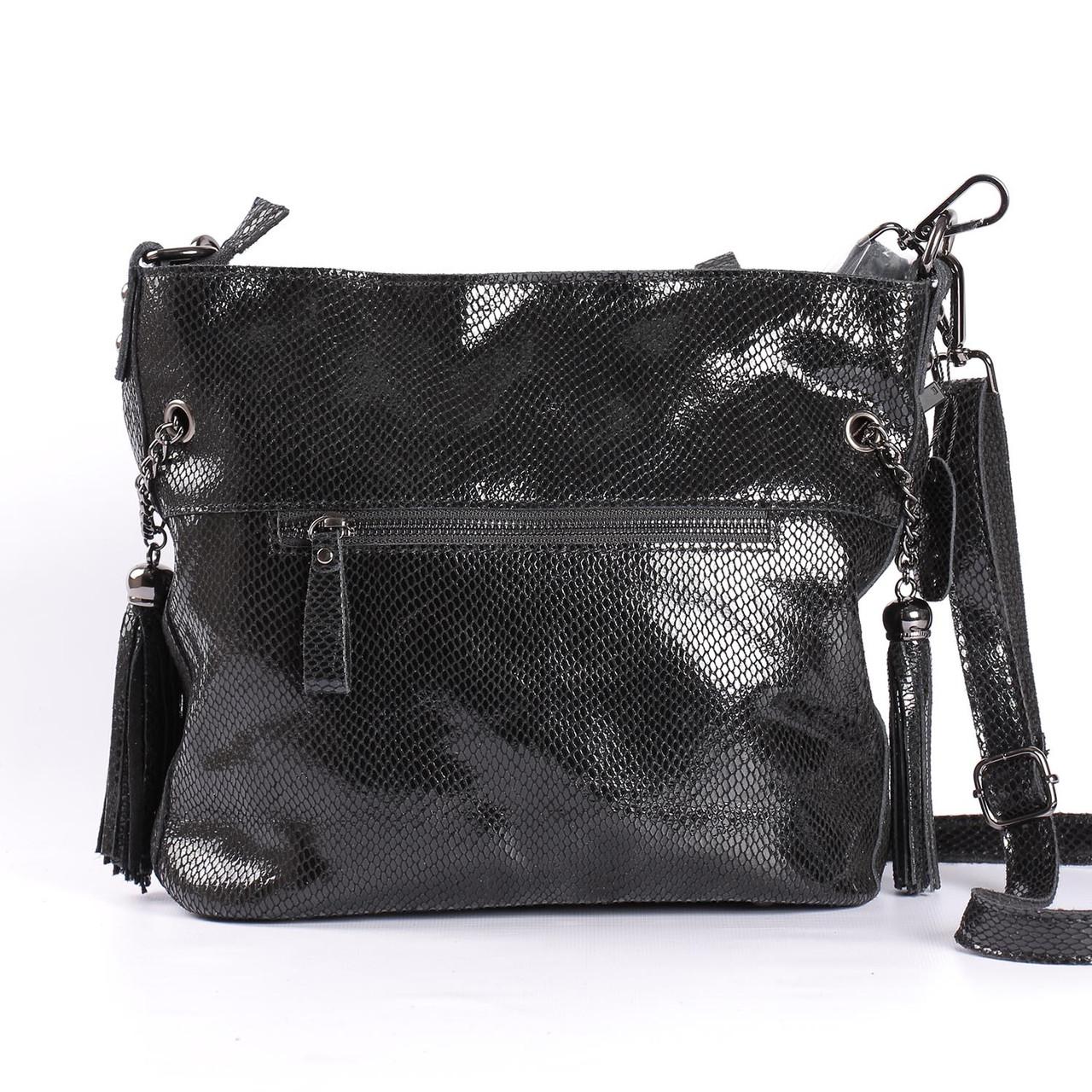 30414f1b2ffe Женская кожаная сумка с лазерным напылением черная