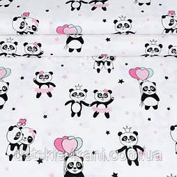 """Ткань шириной 240 см """"Панды в розовых юбках и с шариками-сердечками"""" на белом №2064"""