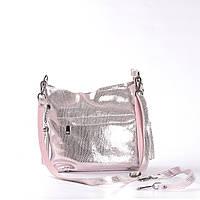 dafea4ee07b8 Женская кожаная сумка с лазерным напылением розовая