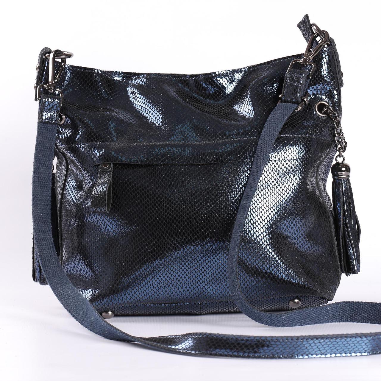 b59eec7094f3 Женская кожаная сумка с лазерным напылением темно-синяя