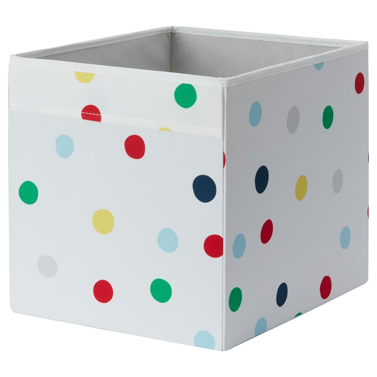 ДРЁНА Ящик, белый, разноцветные точки, 33x38x33 см, 60399515, IKEA, ИКЕА, DRONA