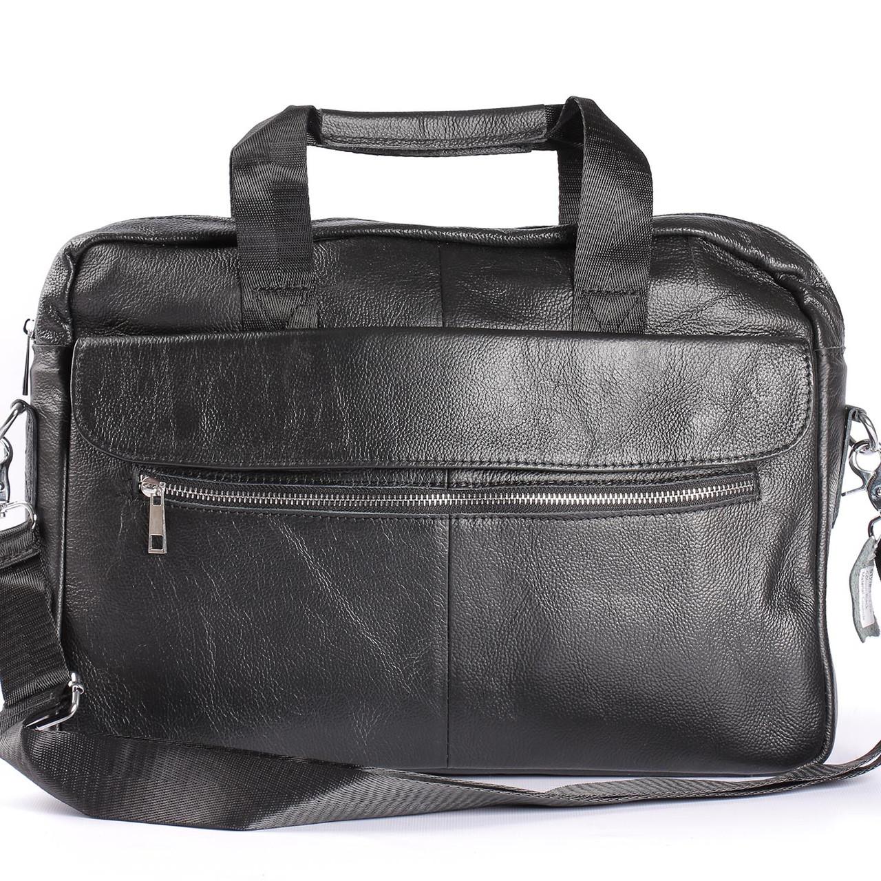 ad7eba1598ac Качественный кожаный портфель для ноутбука, деловой черный