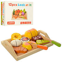 Игровой набор деревянные продукты на липучках, 2 вида - сладости или овощи, поднос, нож, MD 1195