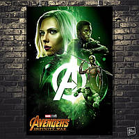 Постер Мстители: Война Бесконечности, Avengers: Infinity War (зелёный). Размер 60x40см (A2). Глянцевая бумага