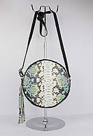 Круглая кожаная сумочка Borse inpelle 323918-1 разноцветная с кисточкой, Италия, фото 1