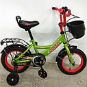 """Двухколесный детский велосипед зеленый ручной тормоз звоночек корзинка Corso 12"""" деткам 3-4 года, фото 3"""