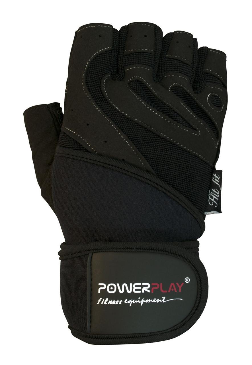 Перчатки PowerPlay для зала КОЖА черные