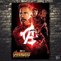 Постер Мстители: Война Бесконечности, Avengers: Infinity War (красный). Размер 60x40см (A2). Глянцевая бумага