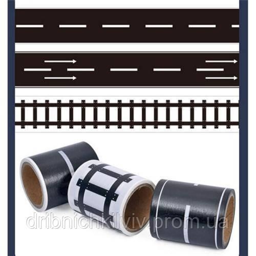 Игровая клейкая лента-дорога с разметкой 3 шт