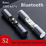 Бездротові Bluetooth-навушники Wi-pods S2 безпровідні із зарядним чохлом-кейсом. Металік чорні, фото 2