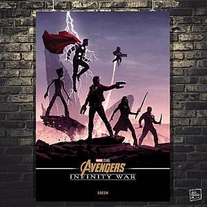 Постер Мстители: Война Бесконечности, Avengers: Infinity War (Группа Стражей Галактики). Размер 60x42см (A2). Глянцевая бумага