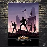 Постер Мстители: Война Бесконечности, Avengers: Infinity War (Группа Капитана Америка). Размер 60x42см (A2). Глянцевая бумага