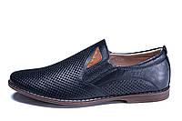 Мужские кожаные летние туфли,перфорация, KungFu blue , фото 1