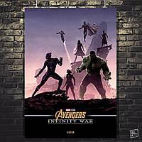 Постер Мстители: Война Бесконечности, Avengers: Infinity War (Группа Чёрной Пантеры). Размер 60x42см (A2). Глянцевая бумага