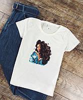 Женская футболка легкая модная стильная с принтом (белая)