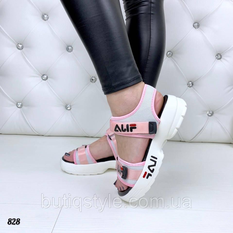 36, 39 размер Женские босоножки розовые  =Fi_La= на белой платформе обувной текстиль