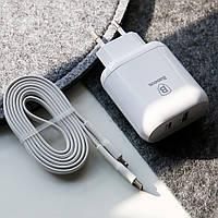 Сетевое ЗУ BASEUS Bojure MacBook QC3.0 USB+Type-C PD 5V-15V 3A 32W + кабель Type-C to Lightning (TZTUN-BJ)