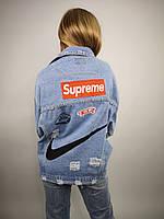 Женская джинсовая курточка на пуговицах с аппликациями Supreme и дырками,размер:oversize,Китай