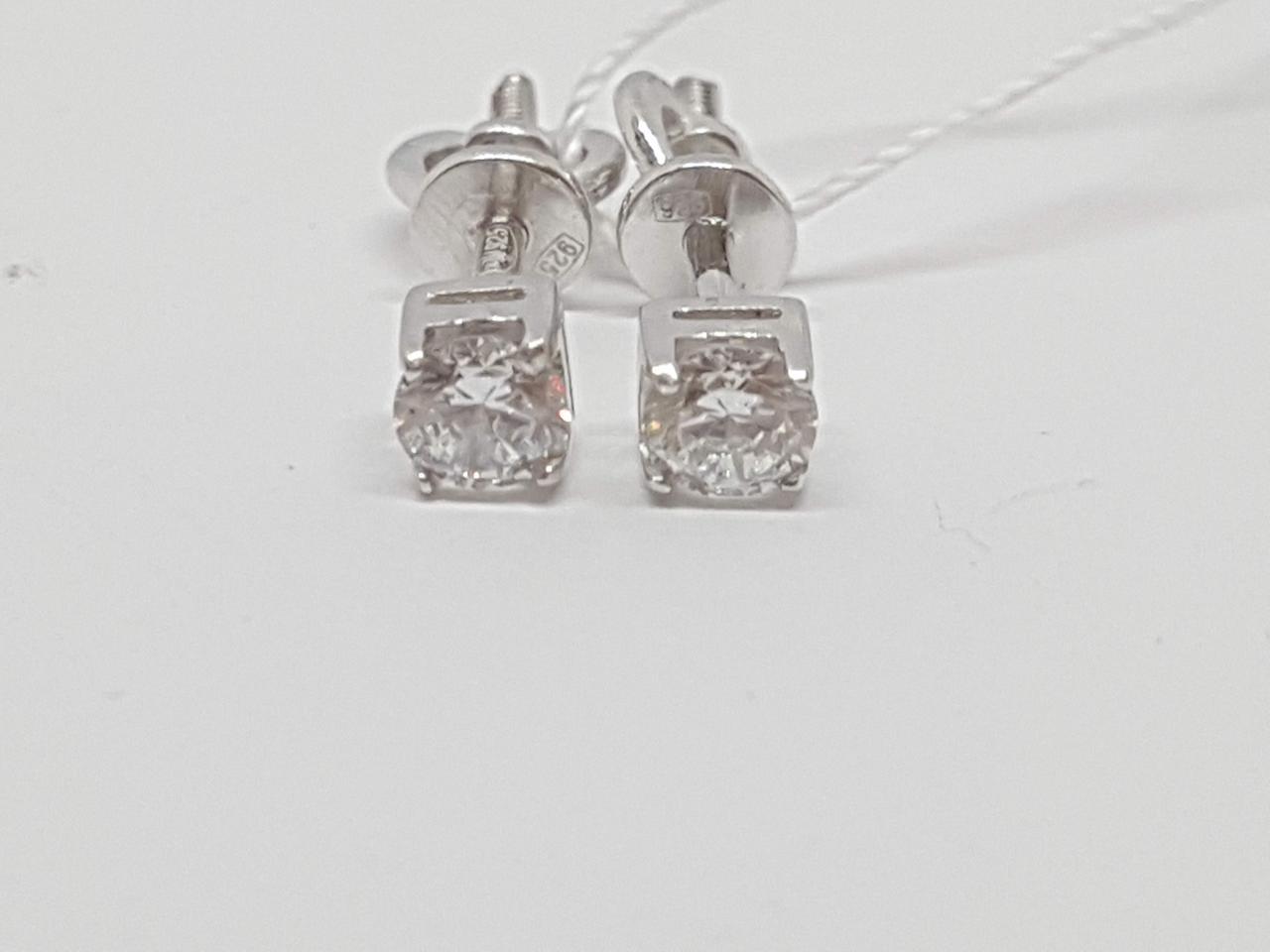 Серебряные серьги-пуссеты с фианитами. Артикул 20109Р