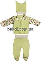 Детский костюм рост 56 (0-2 мес.) велюр салатовый на мальчика/девочку (комплект на выписку) для новорожденных С-272