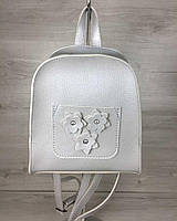 Молодежный рюкзак Цветы серебряного цвета
