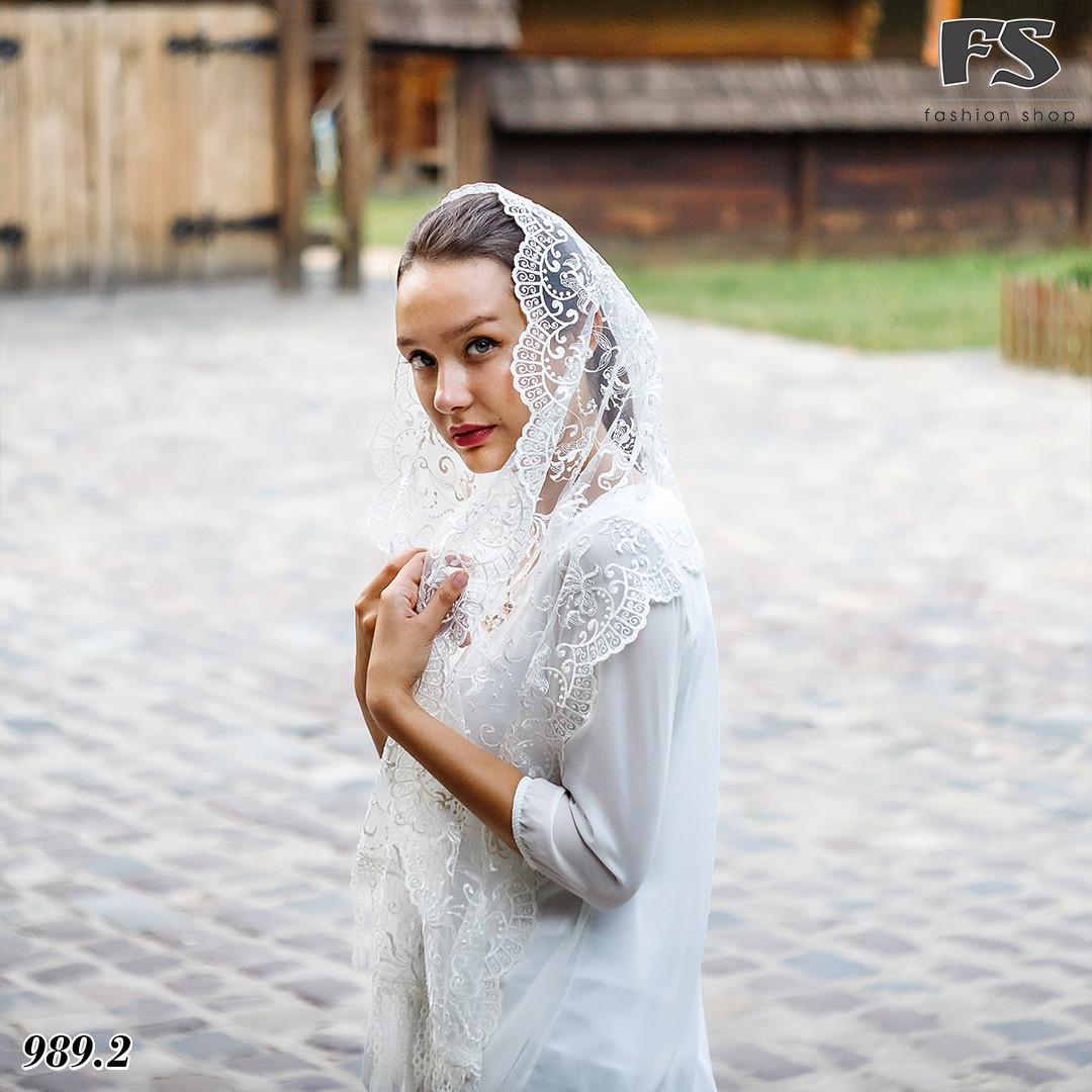 Свадебный шарф Камила (айвори жемчуг )
