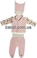 Детский костюм рост 56 (0-2 мес.) велюр розовый на девочку (комплект на выписку) для новорожденных Р-272