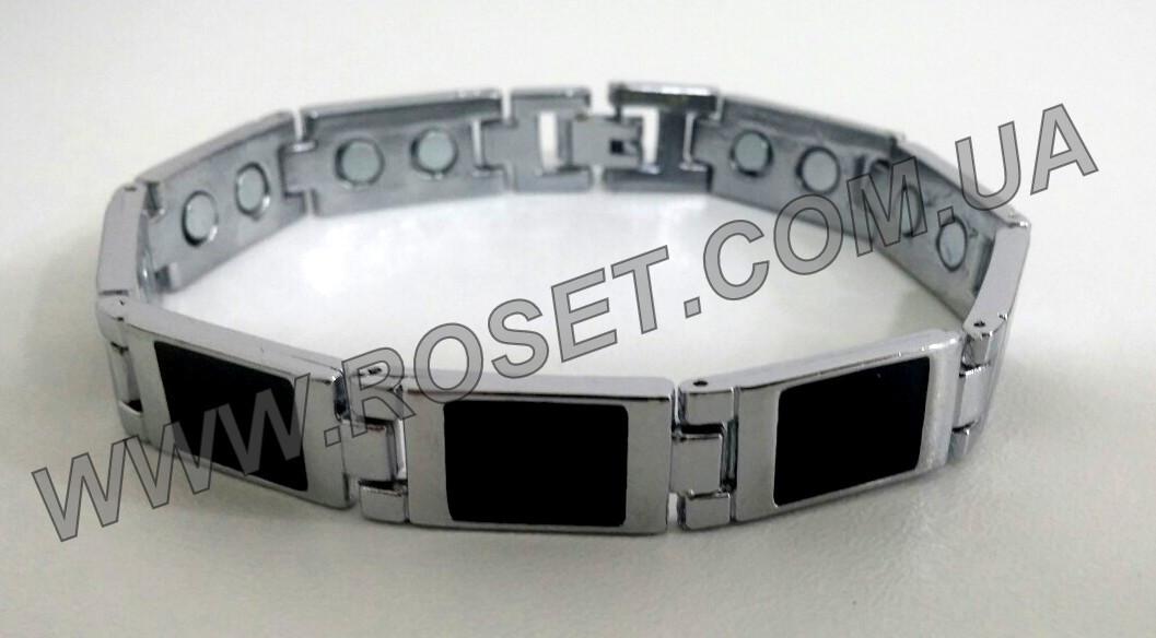 Мужской металлический магнитно-акупунктурный браслет