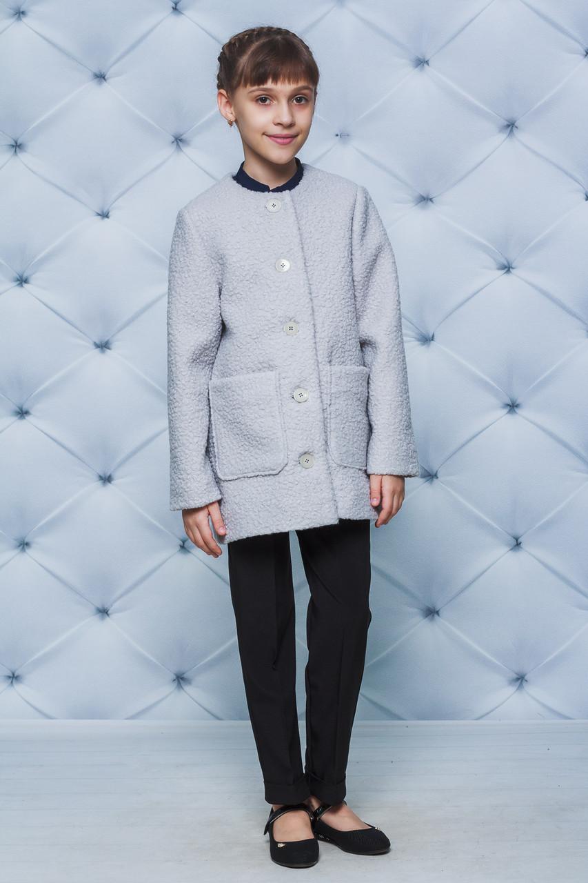 Пальто для девочки букле серое