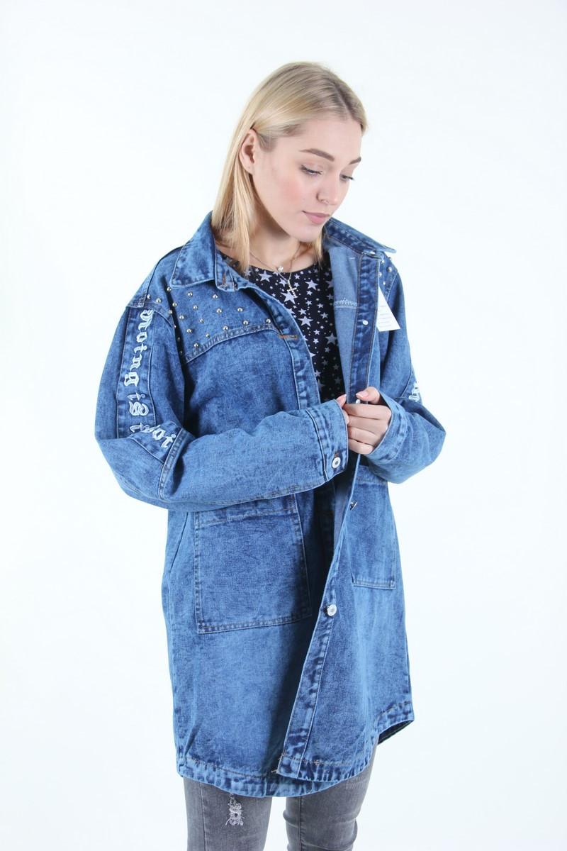 Женская джинсовая куртка большого размера