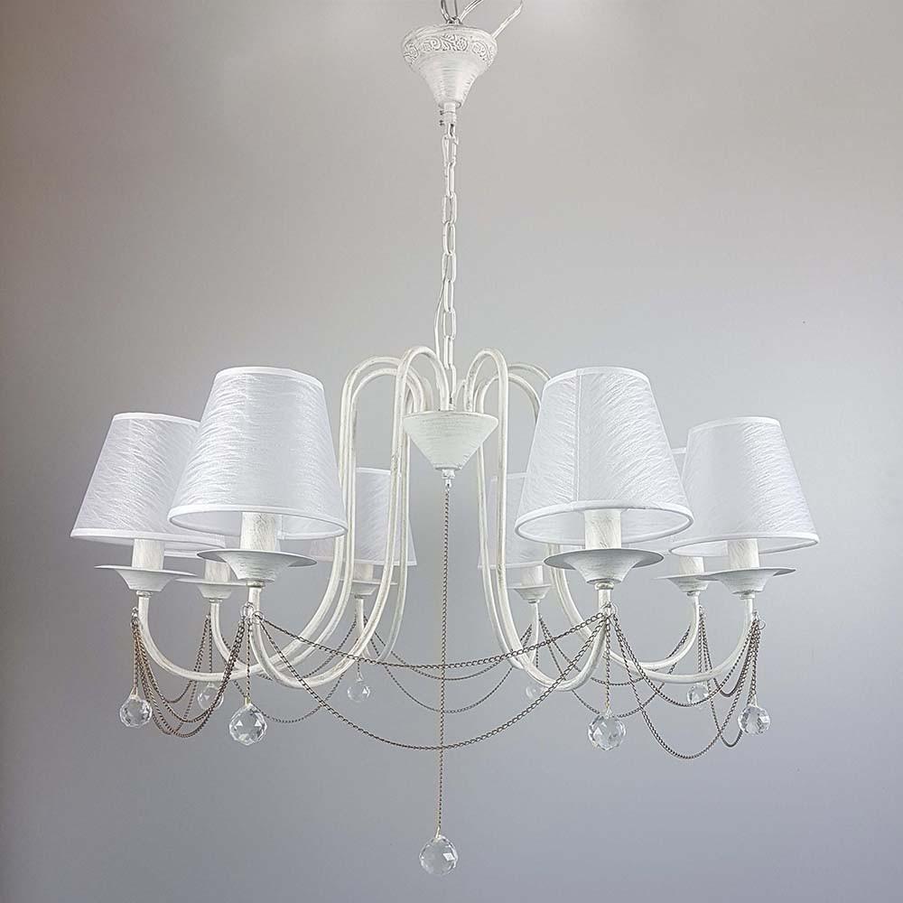 Классическая люстра на 8 лампочек СветМира белая с золотой патиной IS-8191/8/WG