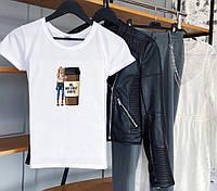 """Летняя женская футболка с принтом """"Ok, but first coffee"""" в белом цвете"""