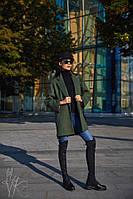 Кашемировое короткое женское пальто оверсайз цвета хаки r6002129
