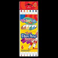 Двухсторонние фломастеры два вида  толщины линии 6 цветов  Colorino Fibre Pens
