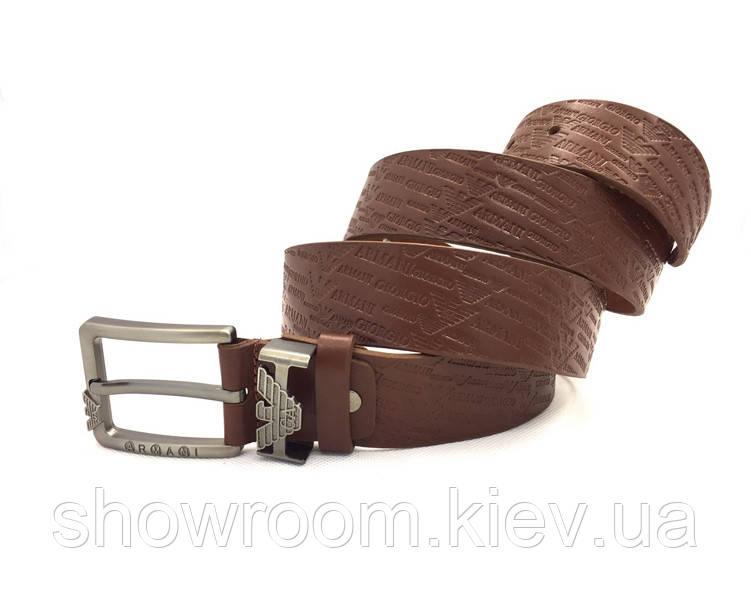 Мужской кожаный брендовый ремень Armani (310) коричневый