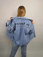 Женская джинсовая куртка на пуговицах с буквенной нашивкой сзади и на рукавах,размер-oversize,Китай