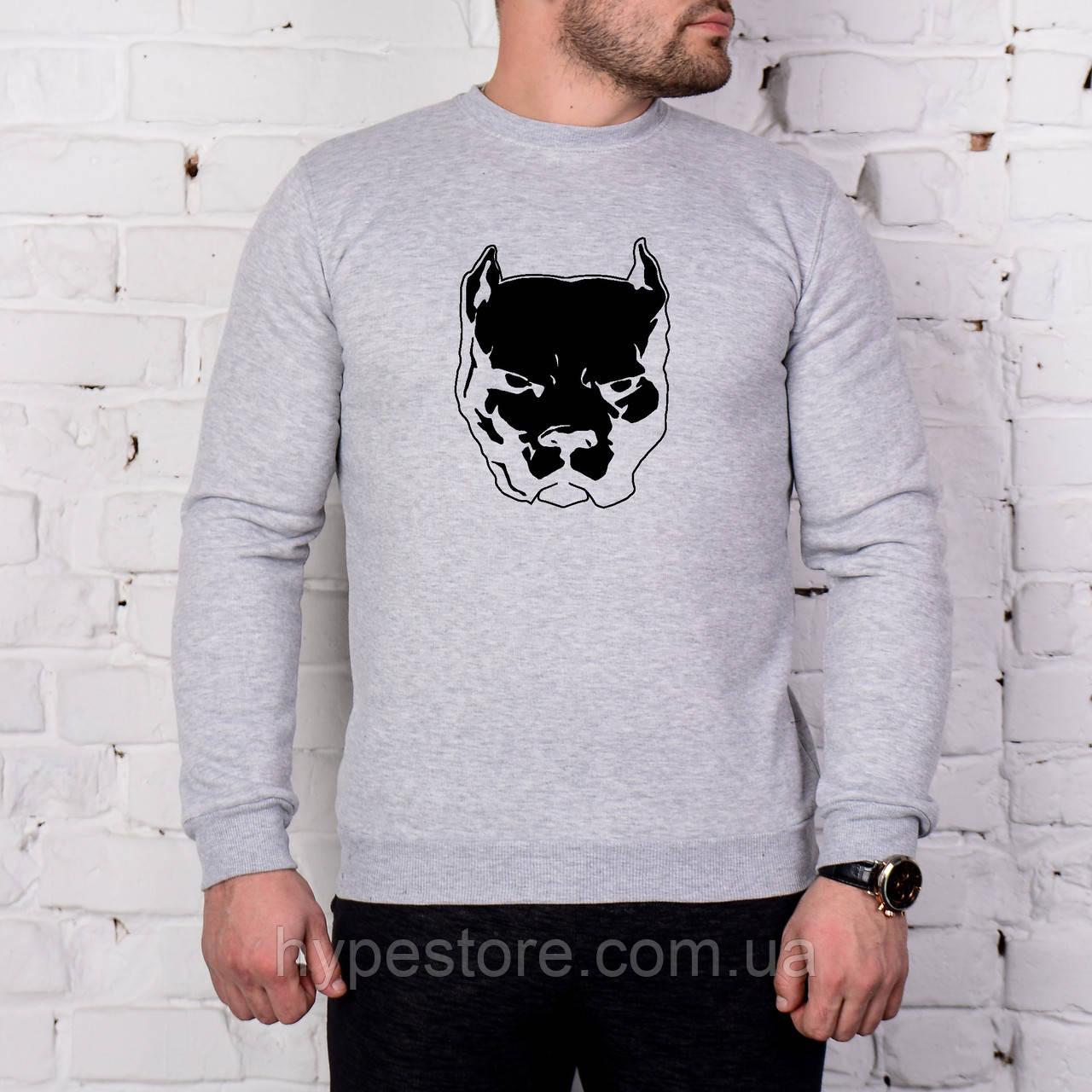 Мужской спортивный серый свитшот, кофта, лонгслив, реглан Smotra, Pitbull, Реплика