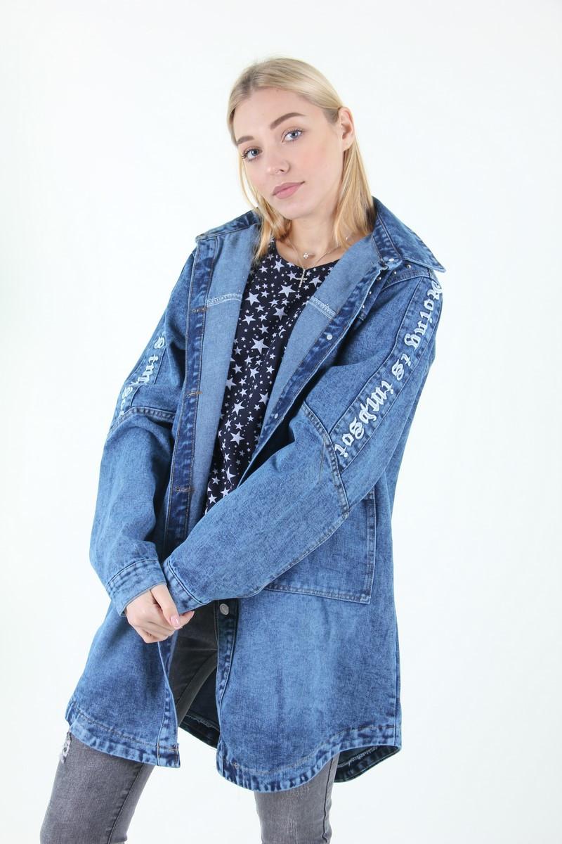 Молодёжный джинсовый кардиган c надписью