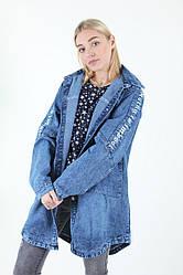 Молодёжный джинсовый кардиган c надписью plus size