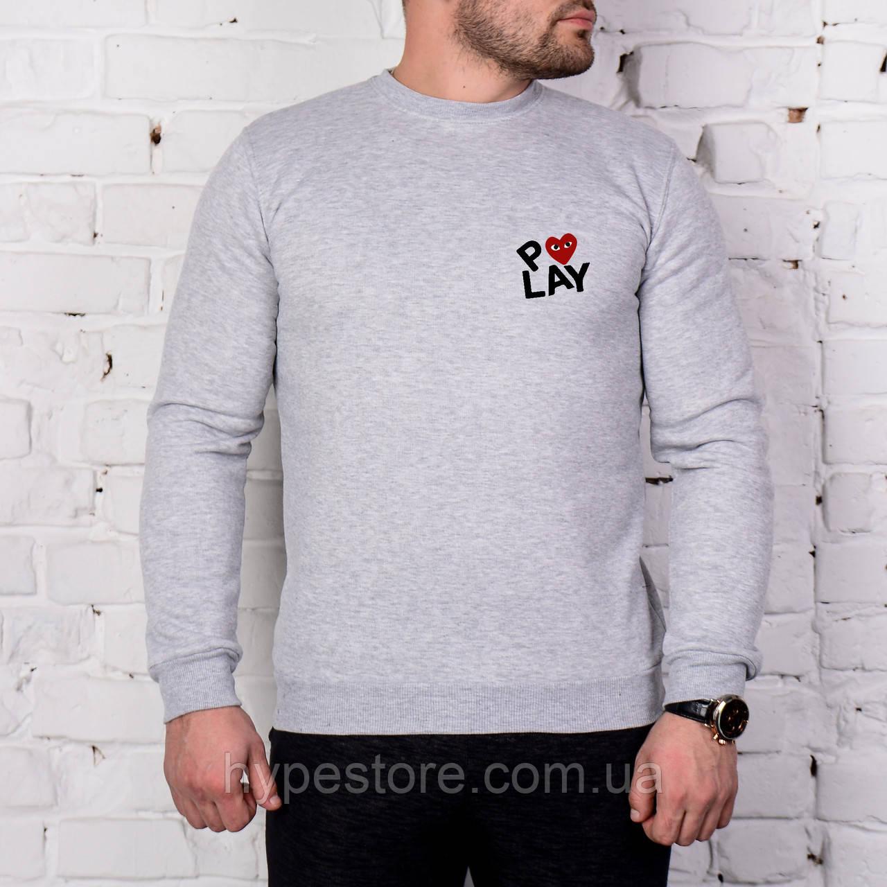 Мужской спортивный серый свитшот, кофта, лонгслив, реглан Comme Des Garcons (маленький лого), Реплика