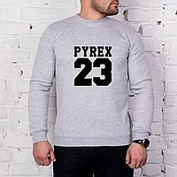 Мужской спортивный серый свитшот, кофта, лонгслив, реглан Pyrex 23, Реплика