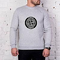 Мужской спортивный серый свитшот, кофта, лонгслив, реглан Stone Island (крупный лого), Реплика