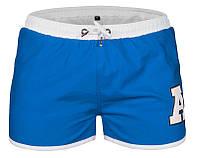 Мужские шорты для плавания голубого цвета с белой окантовкой опт, фото 1