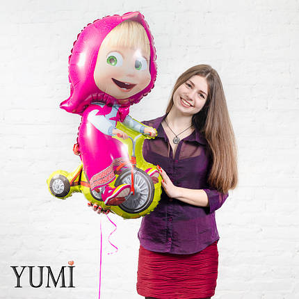 Воздушный фольгированный шар Маша на велосипеде. Маша и медведь, фото 2
